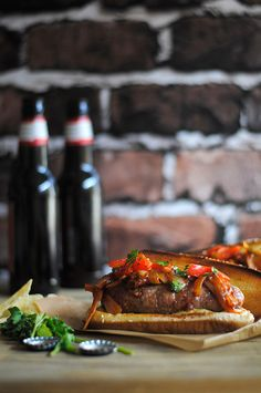 Grilled Sausage Sandwiches with Onion Sauce & Grilled Red Pepper Relish | How To: Simplify