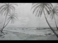 How to Draw a Beach Landscape with Pencil - YouTube