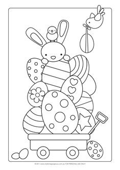 cute kawaii digi art for easter to print out to keep kids amused at the dinner table on easter sunday Style Me Gorgeous: FREE Easter Colour-in Page Easter clipart ideas