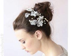Coiffe dentelle fleurs blanches