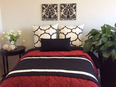 Modern Bed Scarf, Black and White Bedrunner and 2 Coordinating Pillows, Designer Fabric Create a One of a Kind Bedding by Fabrinique on Etsy