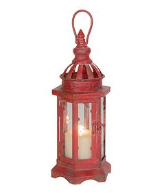 Another great find on #zulily! Red Hexagon Lantern Candleholder #zulilyfinds