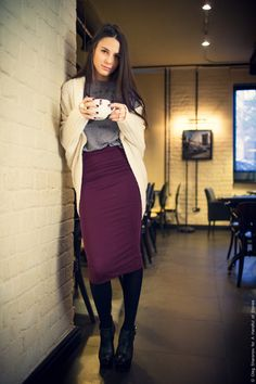 Plum skirt with grey top and camel cardigan