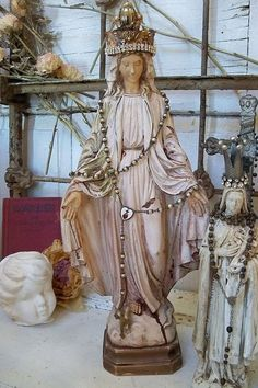 Antique chalk ware Madonna statue weathered by AnitaSperoDesign, $170.00