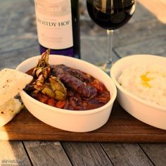 Ostrich sausage and waterblommetjie casserole with maize mash served up by contestant Fiona Rossiter Sausage Recipes, Meat Recipes, Ostrich Meat, Tasty, Yummy Food, Served Up, Casserole, Food To Make, Food Porn