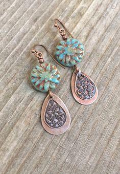 Buy Now Copper Earrings Boho Dangle Earrings Copper Jewelry. Copper Earrings, Blue Earrings, Copper Jewelry, Teardrop Earrings, Beaded Earrings, Boho Jewelry, Beaded Jewelry, Vintage Jewelry, Handmade Jewelry