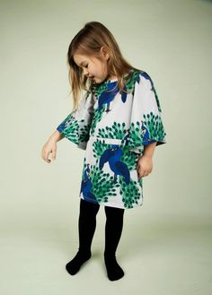 Mini Rodini AW15 Peacock Girls Dress in white, blue and green, from their new collection, inspired by the Jungle Book.