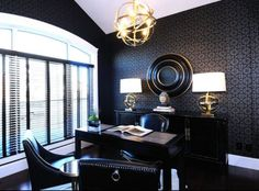 Discover our board of home office ideas to help select the design that describes you the most. Your home office is the space you can work during the weekend, think and read. Masculine Home Offices, Masculine Interior, Masculine Office Decor, Masculine Style, Masculine Room, Monochrome Interior, Home Office Space, Home Office Decor, Office Ideas