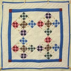 Colorful Nine Patch Amish Patchwork Wall Hanging Quilt; Amish Quilter