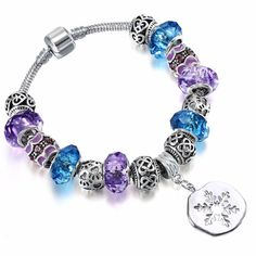 Kinitial Fashion Antique Silver Dog Paw Heart Bead Charm Snowflake Pendant Bracelets & Bangles For Women Enamel Crystal Beads