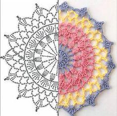 Image gallery - Her Crochet Motif Mandala Crochet, Crochet Circles, Crochet Doily Patterns, Crochet Squares, Crochet Chart, Crochet Designs, Crochet Doilies, Crochet Flowers, Crochet Doily Diagram