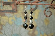 Vintage Faceted Black and Crystal Beads Silver by MemesShoppe, $47.00  Soooooo Like These