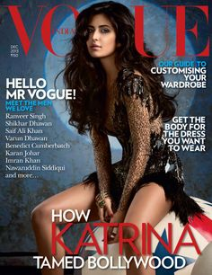 Katrina Kaif on Vogue Magazine Cover looking hot on Vogue India December Bollywood' hot Actress Katrina Kaif on Vogue Magazine Cover featured V Magazine, Vogue Magazine Covers, Fashion Magazine Cover, Vogue Covers, Bollywood News, Bollywood Fashion, Bollywood Actress, Bollywood Style, Julien Macdonald