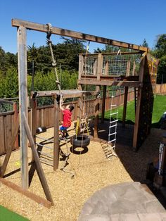 Kids Backyard Playground, Backyard Swings, Natural Playground, Playground Design, Backyard For Kids, Children Playground, Playground Ideas, Climbing Wall Kids, Climbing Rope