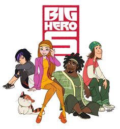 big hero 6 - Go Go, Honey Lemon, Wasabi no Ginger, and Fred.. and the hairy baby!