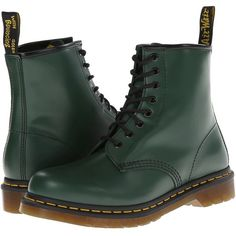 Dr. Martens 1460 (Green Smooth) Lace-up Boots ($125) ❤ liked on Polyvore featuring shoes, boots, metallic boots, green shoes, leather boots, leather lace up boots and lacing boots