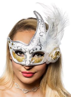 Buy this deluxe white side feather masquerade mask online now at Heaven Costumes. Look gorgeous at your next masked ball when you add this luxury women's white masquerade mask to your outfit! White Masquerade Mask, Masquerade Party, Feather Mask, Crackle Painting, White Feathers, Sweater Design, Girls Sweaters, Gorgeous Women, Cool Things To Buy