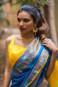 Yellow Raw Silk Sleeveless Blouse With Applique On Back Blouse Saree Houseofblouse
