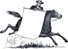 Antique Horse and Rider image. This would make a cute laminated label, name tag, or invitation.