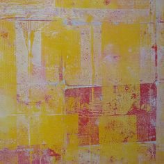yellow and red gelli plate print