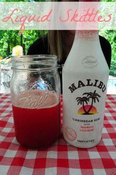 Liquid Skittles: mixed drinks, 6 oz. Malibu mango rum, 12 oz. strawberry daiquiri frozen mix, and 6 oz. gatorade lemon-lime.
