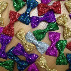 Handmade glitter hair bows