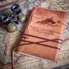 """Custom order leather journal """"The only Zen you'll find on tops of the mountains…"""