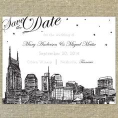 Nashville Skyline Destination Save the Date SAMPLE ONLY on Etsy, $5.00