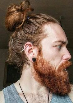 Man bun and Beard Man Bun Hairstyles, Cool Hairstyles For Men, Viking Hairstyles, Latest Mens Fashion, Face Shapes, Bearded Men, Hair Type, Hair Trends, Men Dress