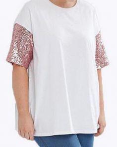 Plus size clothing Sequin t shirt for women short sleeve 7b3ffd00dd5e
