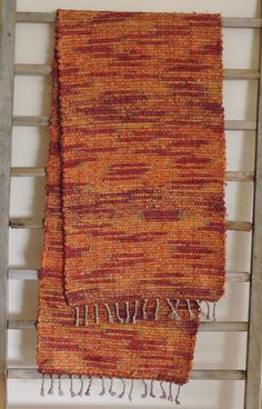 "Hand Woven Autumn Orange Red Table Runner - 14"" x 55"" by StudioatRedTopRanch on Etsy"