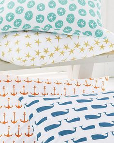 Mini-Print Percale Bedding... perfect for your beach house!!
