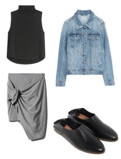 12 x 12 challenge. Fall Mini Capsule Wardrobe_ Outfit 4: black tank top+grey knot skirt+denim jacket+black flats. Fall Casual Outfit 2017
