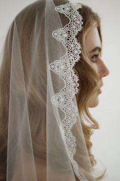 Venice lace mantilla wedding veil lace mantilla by HoneyPieBridal