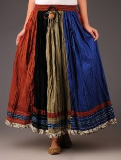 Multicolor Stripes & Threadwork at bottom crinkle Panelled Cotton Skirt - by Jaypore