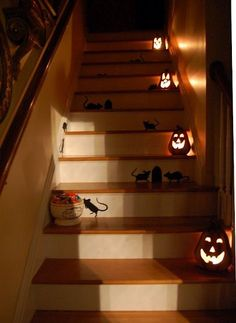 a rat infestation planning for some halloween giggles, halloween decorations, seasonal holiday d cor, Having a Halloween party Stagger glowing pumpkins down the staircase to light the way Halloween Images, Holidays Halloween, Halloween Crafts, Halloween Decorations, Halloween Ideas, Halloween Party, Happy Halloween, Halloween Tricks, Halloween Goodies