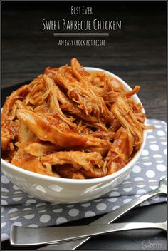 Sweet Barbecue Chicken is an easy crockpot recipe. The slow cooker leaves the chicken moist & tender. Leave the work to your crockpot, sit back & enjoy. Crock Pot Slow Cooker, Crock Pot Cooking, Slow Cooker Recipes, Crockpot Recipes, Chicken Recipes, Cooking Recipes, Healthy Recipes, Crockpot Dishes, Potato Recipes