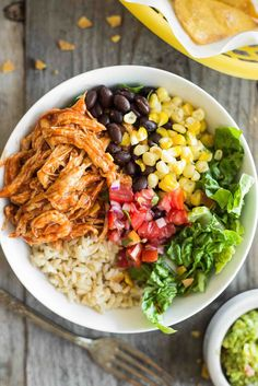 BBQ Chicken Burrito Bowls ~ Make-ahead BBQ Chicken Burrito Bowls are on the menu this week! All the work is done on Sunday, so lunches and weeknight meals are ready in a flash. These are great when you know you have a busy week ahead. ~ SimplyRecipes.com