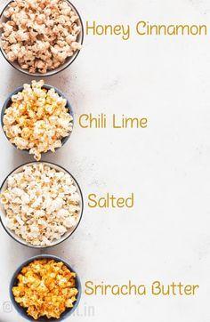 Instant Pot Popcorn (+ 3 ways to flavor it up) - CurryTrail instant pot popcorn with 4 flavors added to it pot recipes healthy Homemade Popcorn Seasoning, Homemade Flavored Popcorn, Instant Pot, Gourmet Popcorn, Popcorn Bar, Gourmet Foods, Saveur, Snack Recipes, Healthy Popcorn Recipes