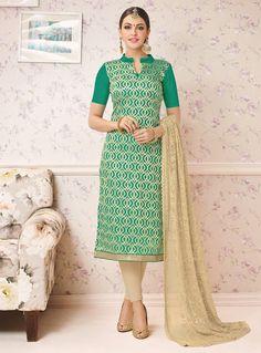c98ae5e02a5d65 Sea Green Chanderi Churidar Salwar Suit 131556