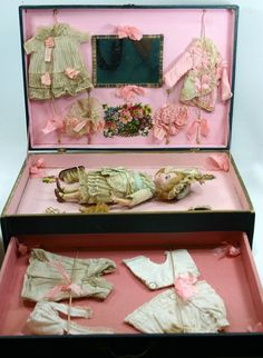 This all original, antique German doll is in her paper-covered presentation box with trousseau. It is circa It does not appear to have been played with - I slid the doll out just to see markings and take photographs. Antique Dolls, Vintage Dolls, Doll Display, Bisque Doll, New Dolls, Sewing Rooms, Little Boxes, Miniature Dolls, Beautiful Dolls