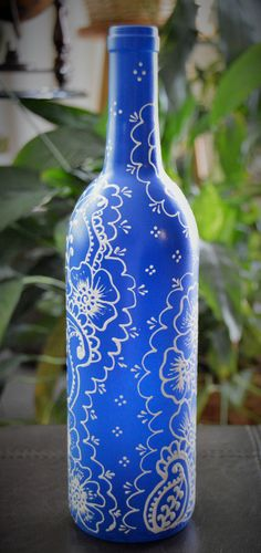 Henna Decorated Wine Bottle by DelightfulScentz on Etsy