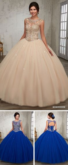 Tulle quinceanera ball gown with bateau neck line, beading detail on bodice M5828