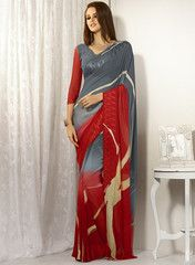 Grey & Red Color Georgette Casual Wear Sarees : Jheel Collection YF-27607