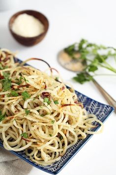 Omit parmesan Spiralizer - Easy Roasted Garlic-Parmesan Potato Noodles by inspiralized. Great with steak chicken, fish. Veggetti Recipes, Zoodle Recipes, Spiralizer Recipes, Vegetable Recipes, Vegetarian Recipes, Cooking Recipes, Healthy Recipes, Potato Noodles, Veggie Noodles