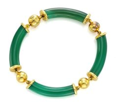 Van Cleef & Arpels // A Chalcedony and Gold Bracelet,circa Available at FD Gallery Fashion Jewellery, Gold Jewellery, Jewelery, Stack Bracelets, Bangles, Le Jade, Chinese Hairpin, Jade Bracelet, Trophy Wife