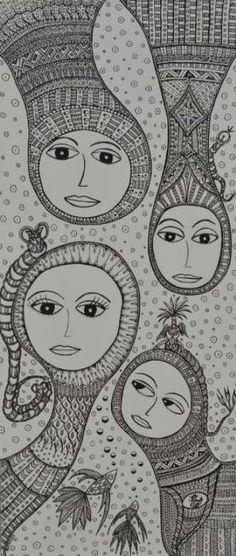 Kunstsamlingen | Artist: Barbara Kaad Ostenfeld | Title: FantasiTastisk Familie | Height: 70cm,  Width: 30cm | Find it at kunstsamlingen.com #kunstsamlingen #kunst #artcollection #art #painting #maleri #galleri #gallery #onlinegallery #onlinegalleri #kunstner #artist #danishartists #bakaos
