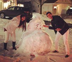 Missão: construir um boneco de neve. Deu mais ou menos certo, mas o que vale é a intenção de Natal!   #usa #merrychristmas #feliznatal #bonecodeneve #renanbarabanov