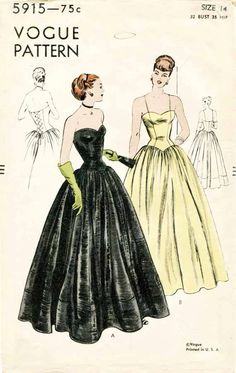 1940s Evening Gown Pattern Vintage Vogue 5915 Strapless Bodice with Corset Style Back Closure and Full Skirt Unused Pattern