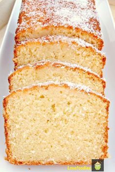 Moist Coconut Pound / Loaf Cake - Light, soft, and oh sooooo delicious! This a great cake nice and moist. No Bake Desserts, Just Desserts, Delicious Desserts, Dessert Recipes, Recipes Dinner, Breakfast Recipes, Yummy Food, Coconut Pound Cakes, Pound Cake Recipes